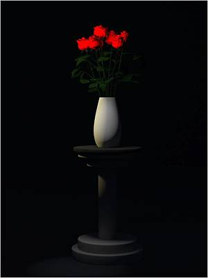 Poster featuring the digital art Roses For Sk... by Tim Fillingim