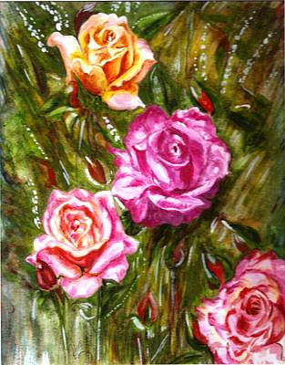 Poster featuring the painting Roses by Harsh Malik