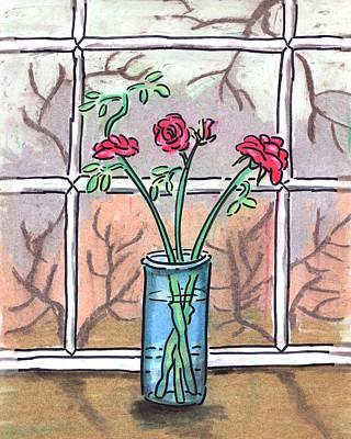 Roses In A Glass Vase Poster by Estefan Gargost