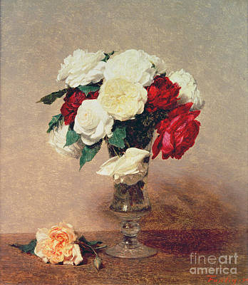 Roses In A Vase With Stem Poster