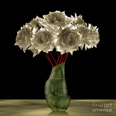 Roses In Green Vase Poster