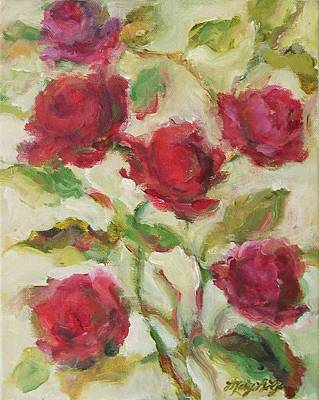Poster featuring the painting Roses by Mary Wolf