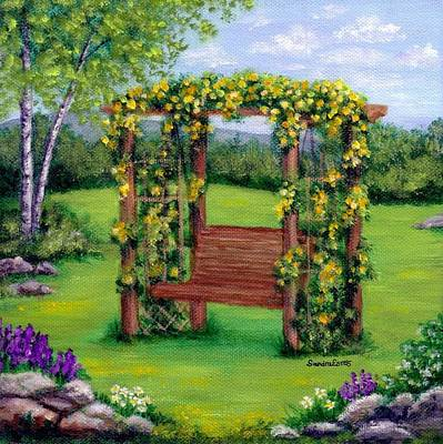 Poster featuring the painting Roses On The Arbor Swing by Sandra Estes