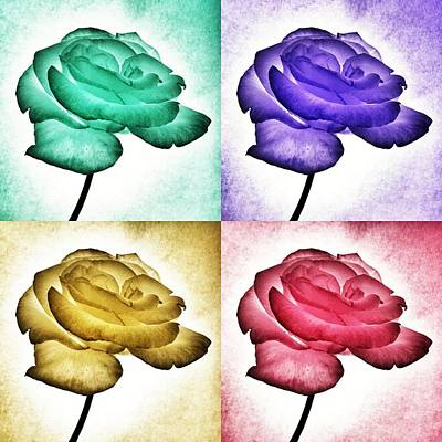 Poster featuring the photograph Roses - Pop Art by Marianna Mills
