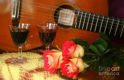 Poster featuring the photograph Guitar 'n Roses by The Art of Alice Terrill