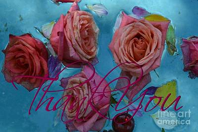 Roses Thank You  For Card Poster