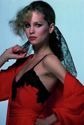 Rosie Vela Wearing A Red Camisole Poster by Albert Watson