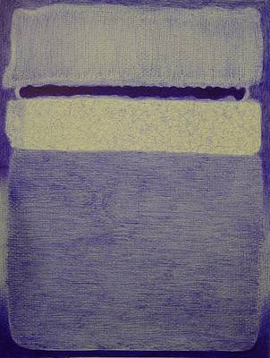 Rothko In Ballpoint Blue White Center Yellow Pink And Lavender On Rose Poster by Ben Johansen