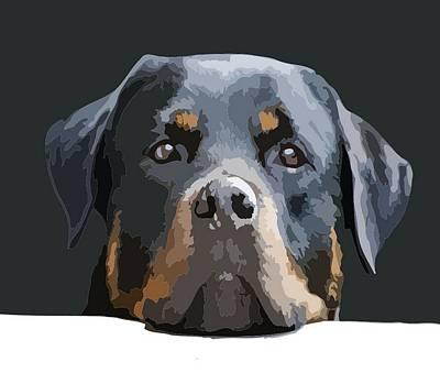 Rottweiler Portrait Vector Poster by Tracey Harrington-Simpson