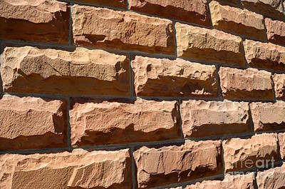 Rough Hewn Sandstone Brick Wall Of A Historic Building In Salt Lake City Poster by Gary Whitton