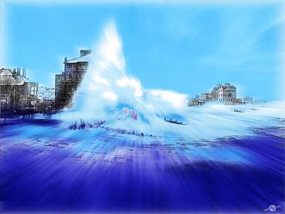 Rough Sea Bognor England Poster by Tony Rubino