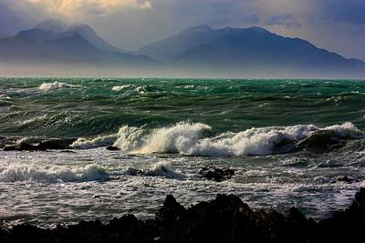 Poster featuring the photograph Rough Seas Kaikoura New Zealand by Amanda Stadther