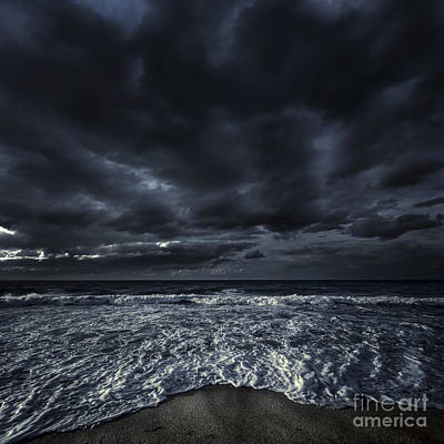 Rough Seaside Against Stormy Clouds Poster