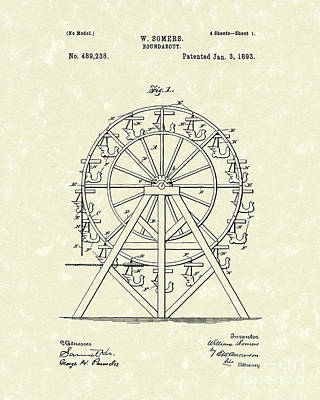 Roundabout 1893 Patent Art  Poster by Prior Art Design