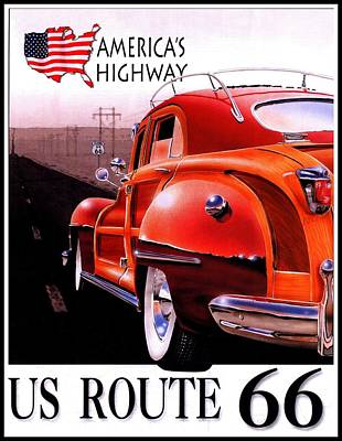 Route 66 America's Highway Poster by Georgia Fowler