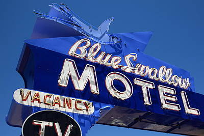 Route 66 - Blue Swallow Motel Neon Poster by Frank Romeo