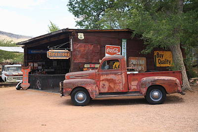Route 66 Garage And Pickup Poster