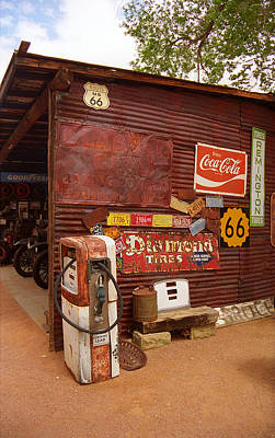 Route 66 Garage And Pump Poster by Frank Romeo