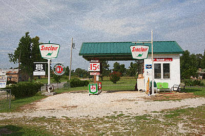 Route 66 Gas Station With Sponge Painting Effect Poster by Frank Romeo