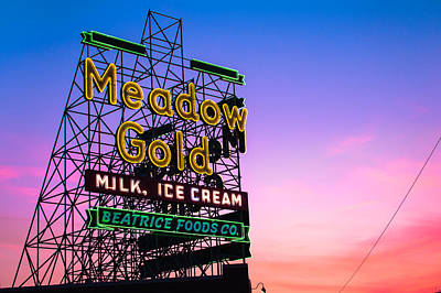 Route 66 Meadow Gold Neon Sign - Tulsa Oklahoma Poster by Gregory Ballos