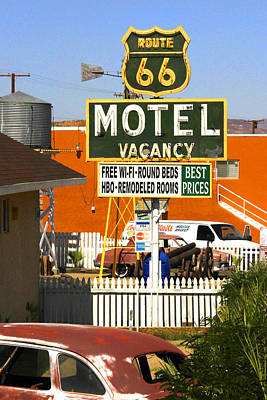 Route 66 Motel - Barstow Poster by Mike McGlothlen