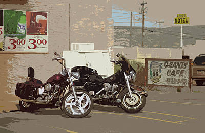 Route 66 Motorcycles With A Dry Brush Effect Poster by Frank Romeo