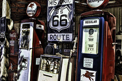 Poster featuring the painting Route 66 by Muhie Kanawati