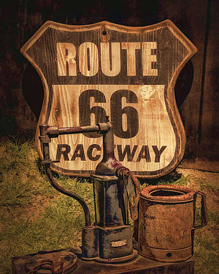 Route 66 Raceway Poster by Priscilla Burgers