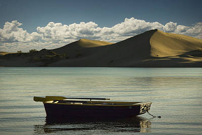 Row Boat On Silver Lake With Dunes Poster by Randall Nyhof