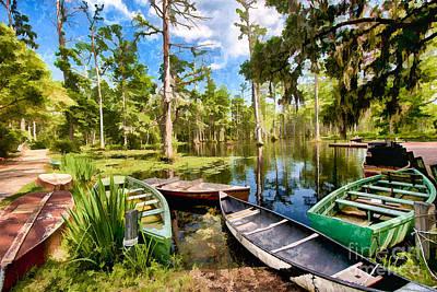 Row Boats In Cypress Tree Swamp II Poster by Dan Carmichael