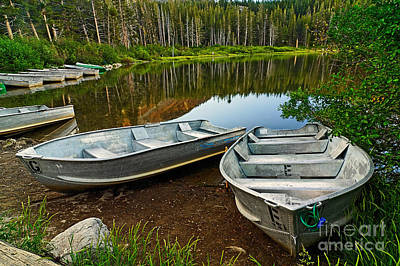 Row Boats Lining A Lake In Mammoth Lakes California Poster by Jamie Pham