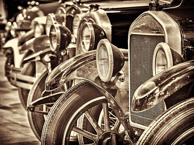 Row Of Ancient Oldtimers In Sepia Poster by Martin Bergsma