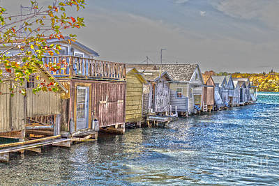 Row Of Boathouses Poster