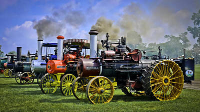 Row Of Russell Steam Tractors Poster by F Leblanc