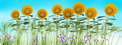 Row Of Sunflowers Poster