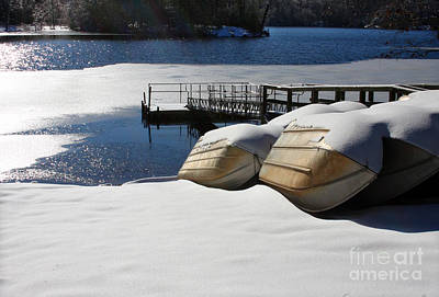 Rowboats Resting In Winter Poster