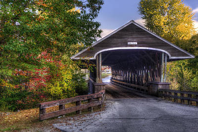 Rowell Covered Bridge In Fall Poster