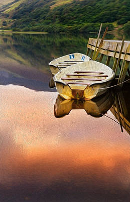 Rowing Boats Moored At Jetty On Llyn Nantlle In Snowdonia National Park Digital Painting Poster by Matthew Gibson