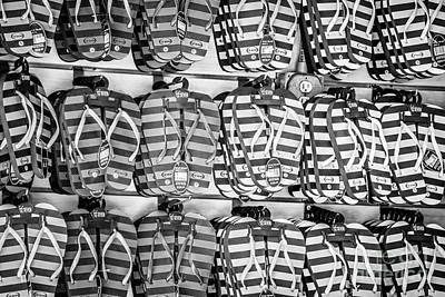 Rows Of Flip-flops Key West - Black And White Poster by Ian Monk