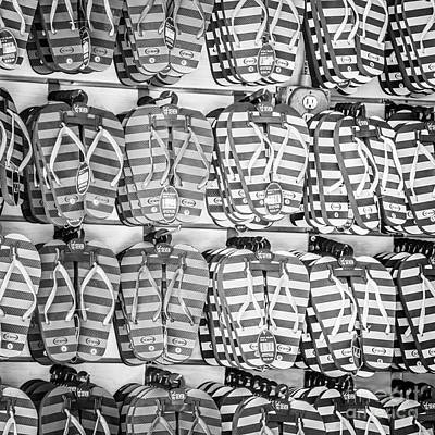 Rows Of Flip-flops Key West - Square - Black And White Poster by Ian Monk