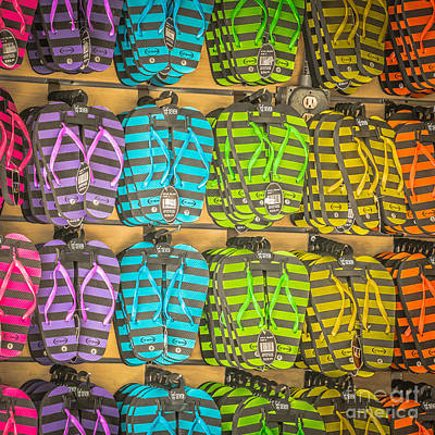 Rows Of Flip-flops Key West - Square - Hdr Style Poster
