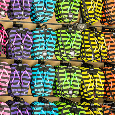Rows Of Flip-flops Key West - Square Poster by Ian Monk