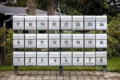 Rows Of Grey Mailboxes With Numbers Poster