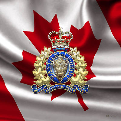 Royal Canadian Mounted Police - Rcmp Badge Over Waving Flag Poster
