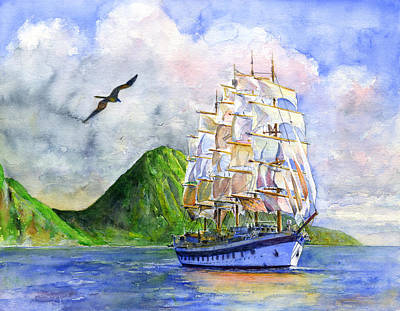 Royal Clipper Leaving St. Lucia Poster