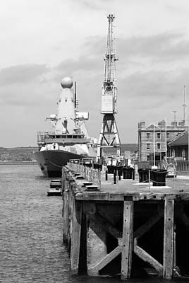 Royal Navy Docks And Hms Defender Poster