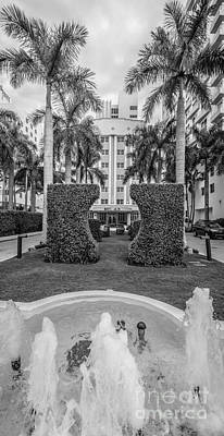 Royal Palm Hotel On South Beach Miami - Black And White Poster by Ian Monk
