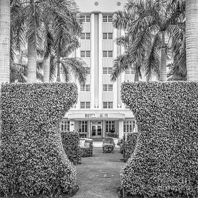 Royal Palm Hotel On South Beach Miami - Square Crop - Black And White Poster by Ian Monk