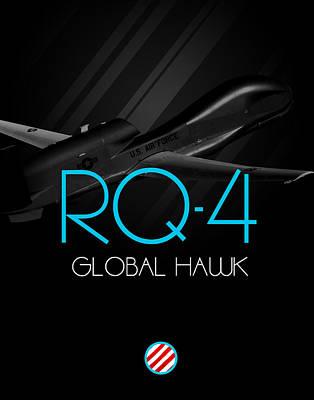 Rq-4 Global Hawk Blackout Poster by Reggie Saunders