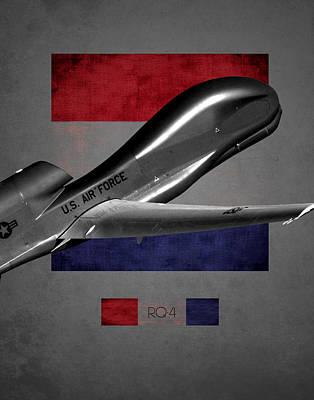 Rq-4 Global Hawk Flag Spirit Poster by Reggie Saunders